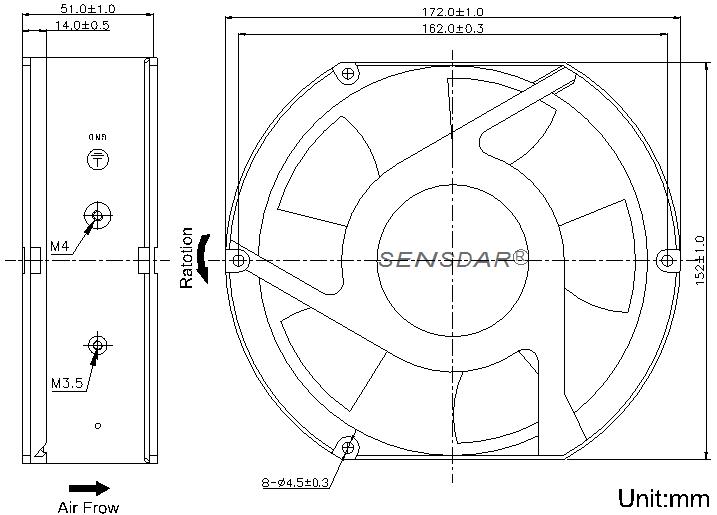 SD1751M2B-5 Sensdar вентилятор чертеж