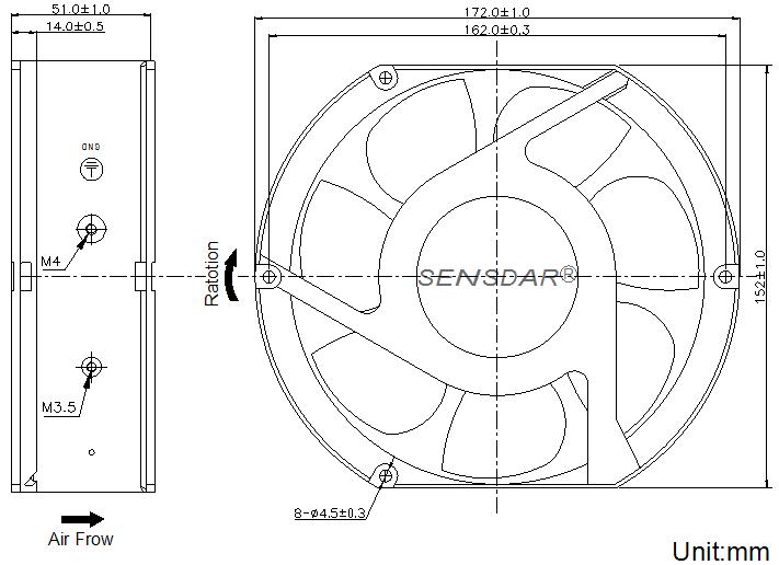 SD1751H4B-7 Sensdar вентилятор чертеж