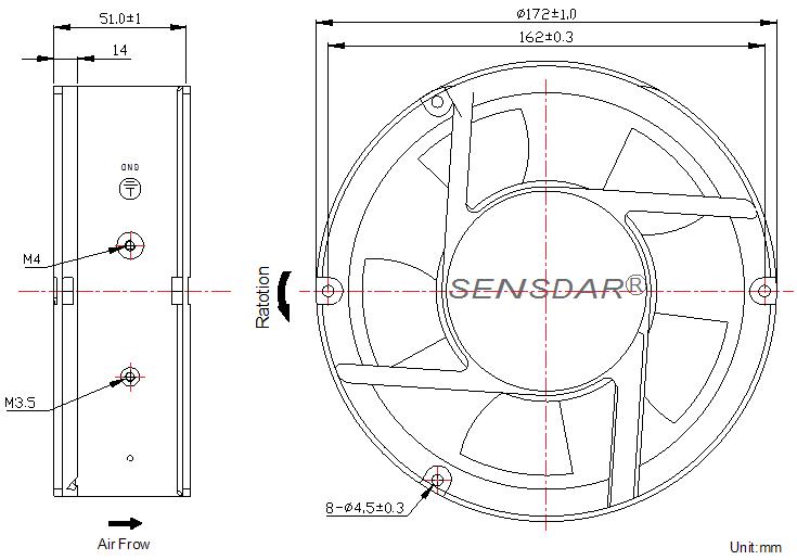 SD1725L2B-5 Sensdar вентилятор чертеж