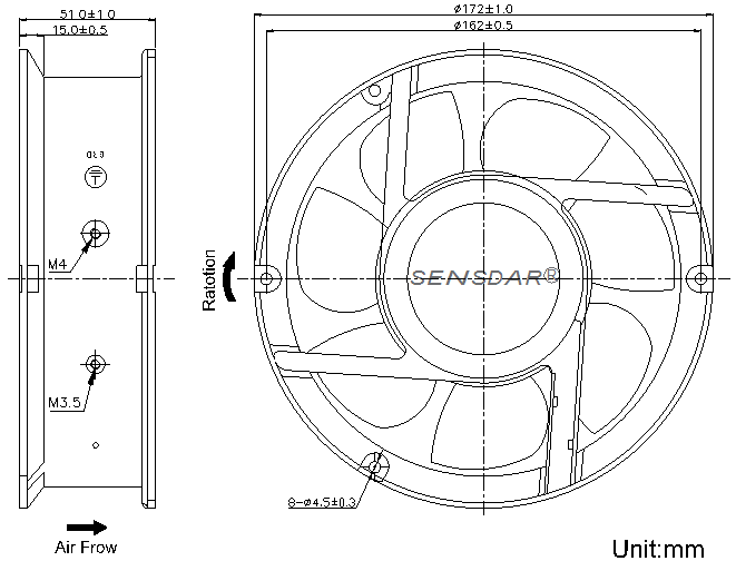 SD1725H4B-7 Sensdar вентилятор чертеж