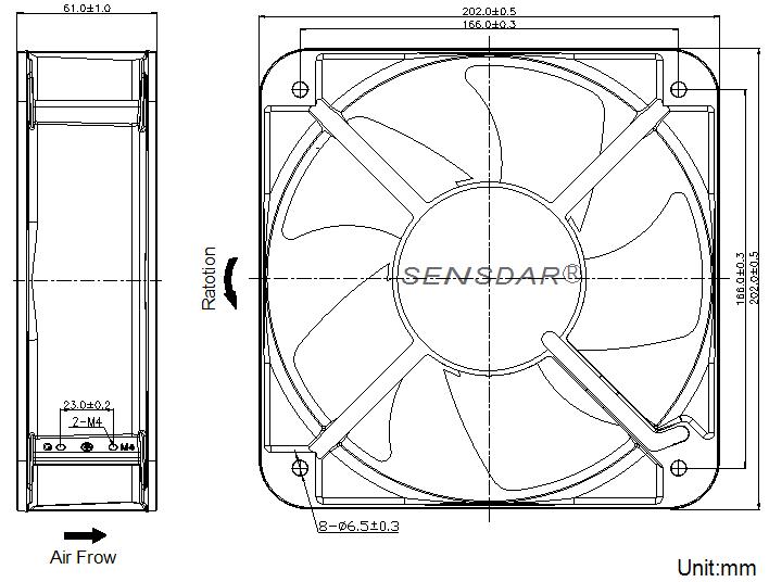 SD20060M1B Sensdar вентилятор чертеж