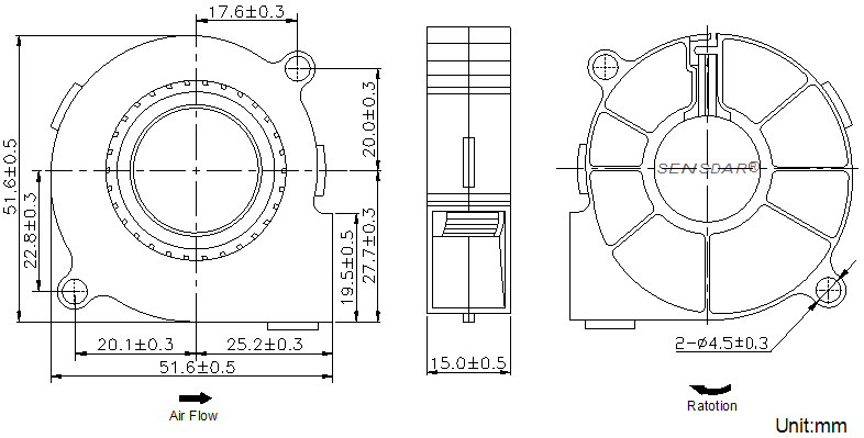 SB5015H2B Sensdar вентилятор чертеж