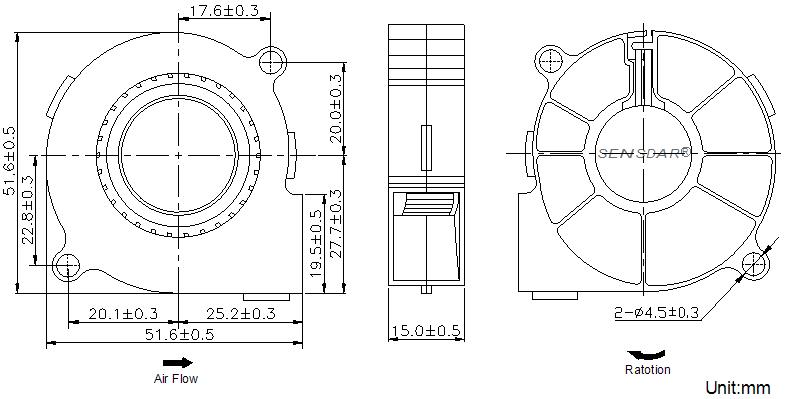 SB5015L2B Sensdar вентилятор чертеж