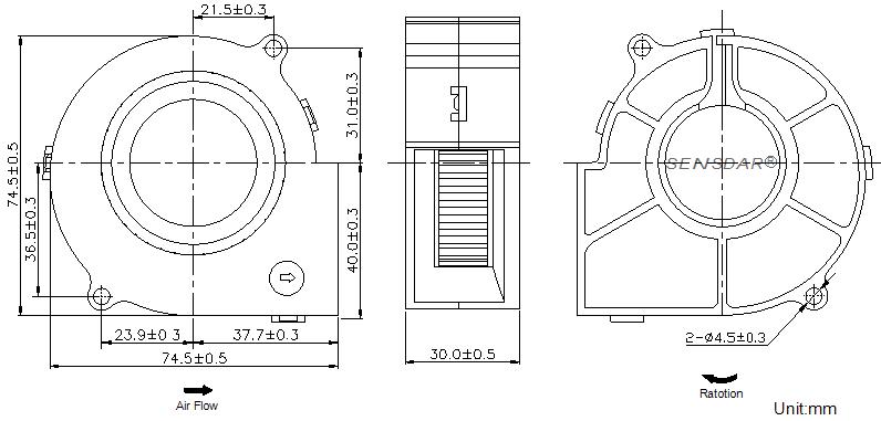 SB7530L2B Sensdar вентилятор чертеж
