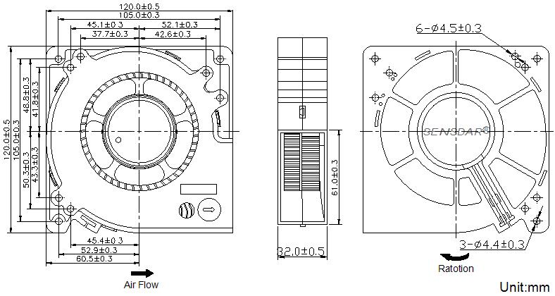 SB1232H4S Sensdar вентилятор чертеж