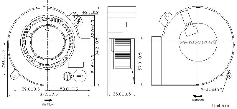 SB9733L2B Sensdar вентилятор чертеж