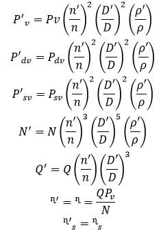 формулы рабочих параметров