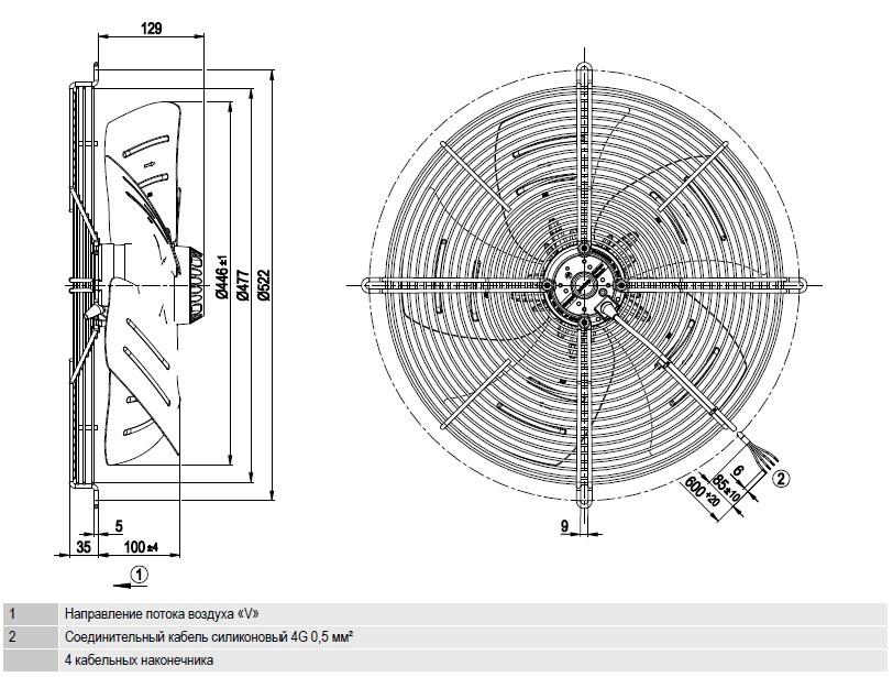 S6E450-BP02-01 Ebmpapst чертёж