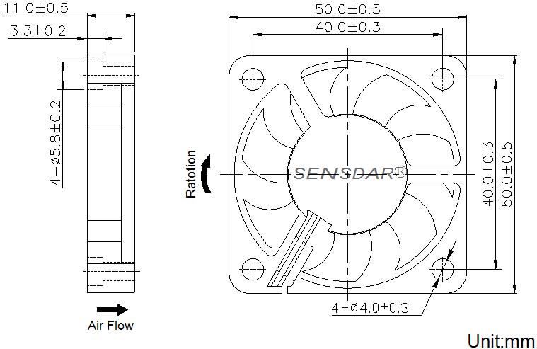 чертеж вентилятора 50х50х10 мм 5В постоянного тока