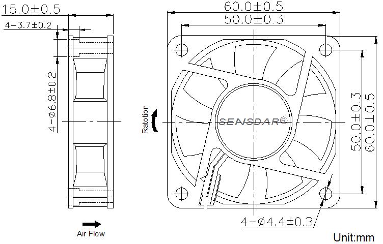 SD6015L1S, вентилятор 12В DC, 60х60х15 мм, подшипник скольжения, sensdar