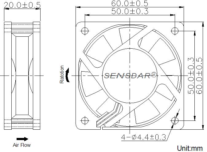 SD6020L1S, вентилятор 12В DC, 60х60х20 мм, подшипник скольжения, sensdar