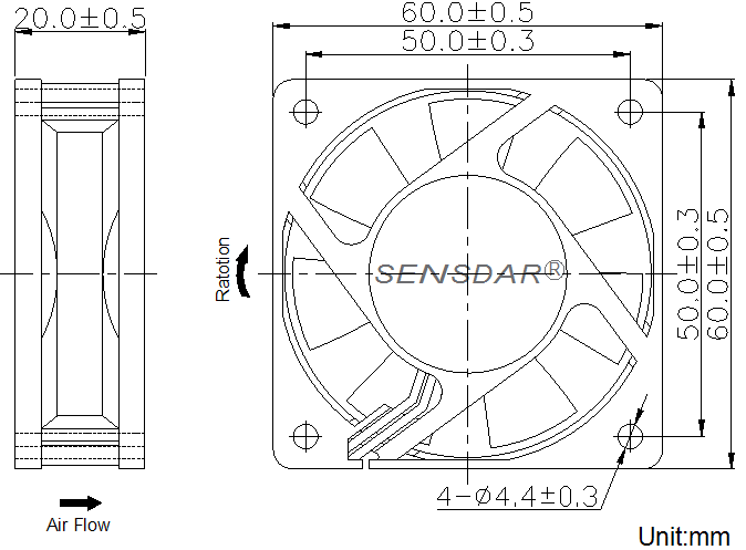 SD6020H2S, вентилятор 24В DC, 60х60х20 мм, подшипник скольжения, sensdar