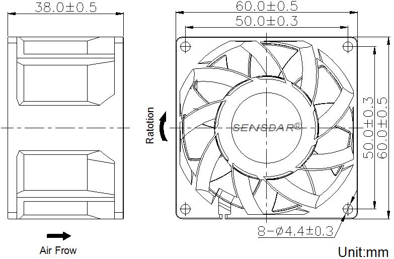 SG6038H2B, вентилятор 24В DC, 60х60х38 мм, подшипник качения, sensdar