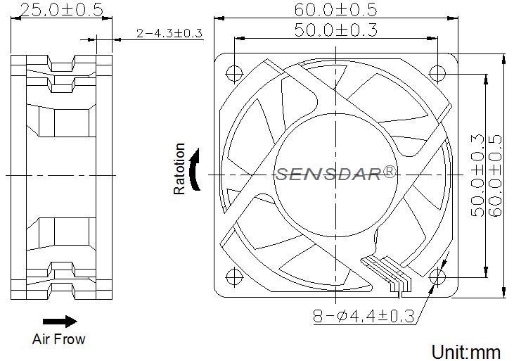 SD6025L4S, вентилятор 48В DC, 60х60х25 мм, подшипник скольжения, sensdar