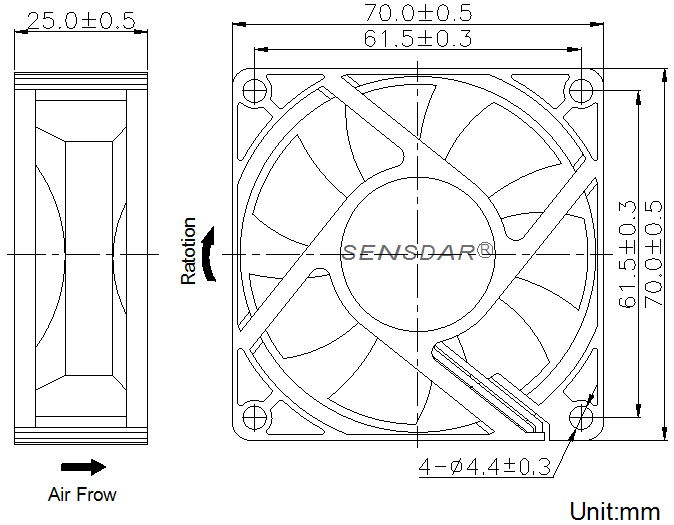 SD7025H2B, вентилятор 24В DC, 70х70х25 мм, подшипник качения, sensdar