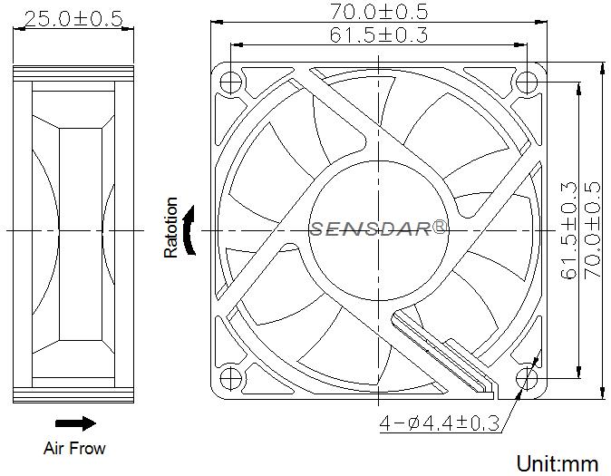 SD7025L4S, вентилятор 48В DC, 70х70х25 мм, подшипник скольжения, sensdar
