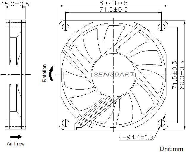 SD8015L1S, вентилятор 12В DC, 80х80х15 мм, подшипник скольжения, sensdar