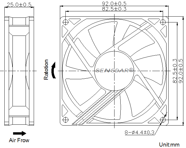 SD9225H5S, вентилятор 5В DC, 92х92х25 мм, подшипник скольжения, sensdar