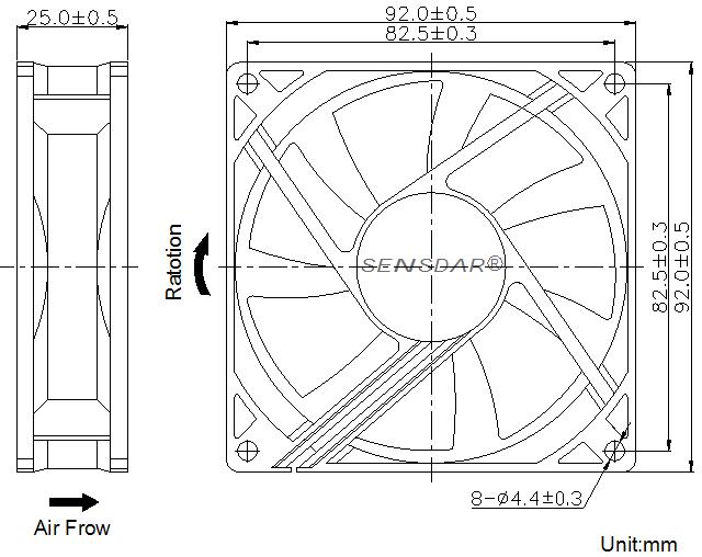 SD9225L1B, вентилятор 12В DC, 92х92х25 мм, подшипник качения, sensdar