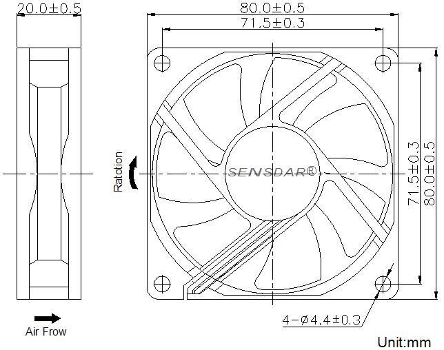 SD8020H2B, вентилятор 24В DC, 80х80х20 мм, подшипник качения, sensdar