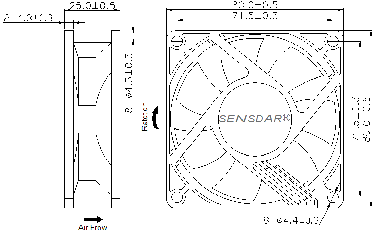 SD8025H2B, вентилятор 24В DC, 80х80х25 мм, подшипник качения, sensdar