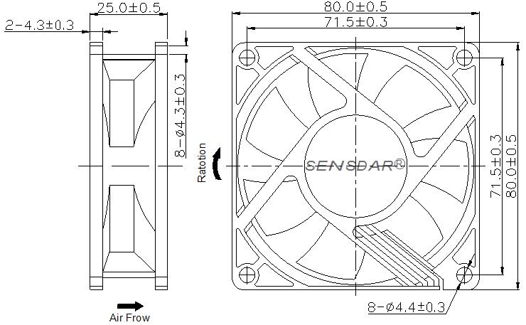 SD8025H2S, вентилятор 24В DC, 80х80х25 мм, подшипник скольжения, sensdar