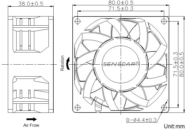 SG8038L4S, вентилятор 48В DC, 80х80х38 мм, подшипник скольжения, sensdar