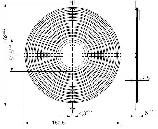 LZ36 защитная решетка ebmpapst 150 х 172 мм