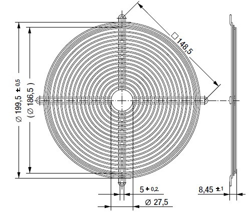 LZ22 защитная решетка 200х51 мм ebmpapst