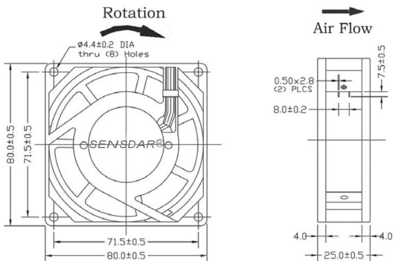 SA8025M2S, вентилятор 220В, 80х80х25 мм, подшипник скольжения, sensdar