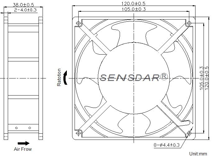 SA1238H2B, вентилятор 220В, 120х120х38, подшипник качения, sensdar (Китай)
