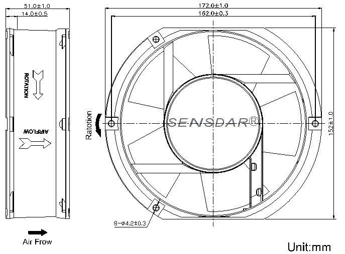 SA1751M3B, вентилятор 380В, 172х150х51 мм, подшипник качения, sensdar (Китай)