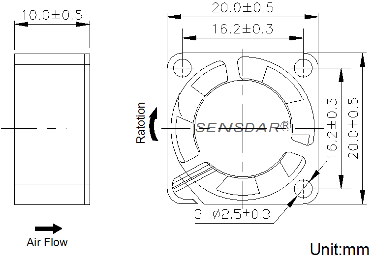 SD2010H5S, вентилятор 5В DC, 20х20х10 мм, подшипник скольжения, sensdar