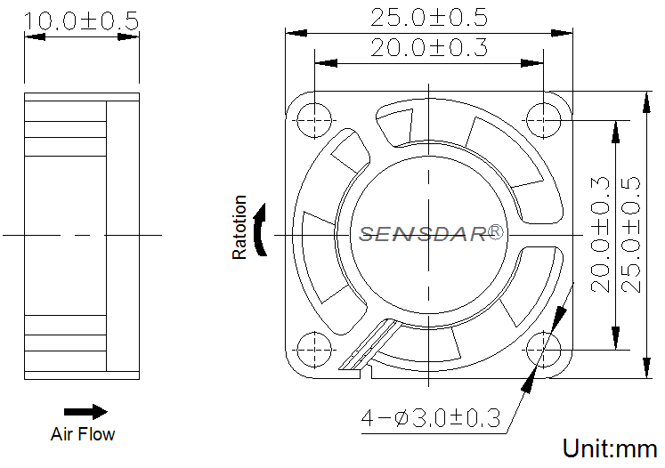 SD2510L1S, вентилятор 12В DC, 25х25х10 мм, подшипник скольжения, sensdar
