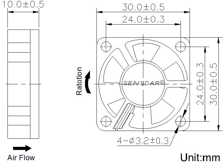 SD3010M1B, вентилятор 12В DC, 30х30х10 мм, подшипник качения, sensdar