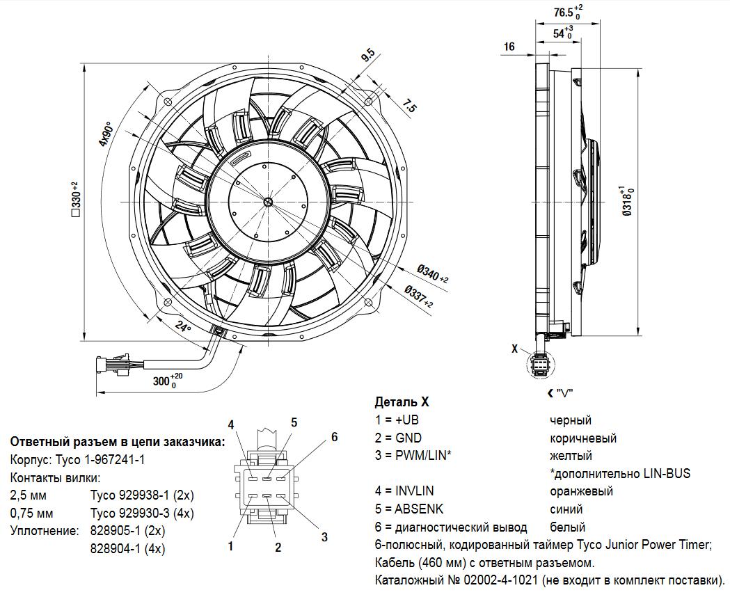 Осевой автомобильный вентилятор W3G300-BV24-01