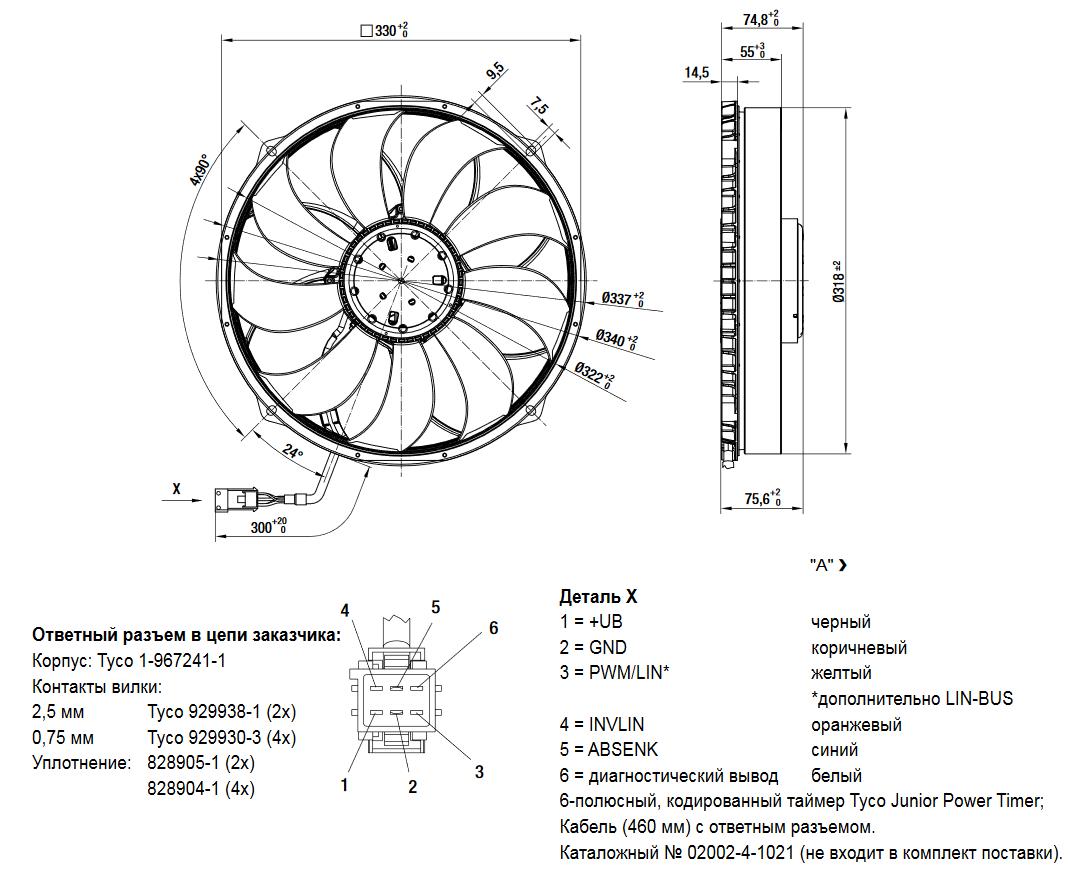 Осевой автомобильный вентилятор W3G300-PW24-01
