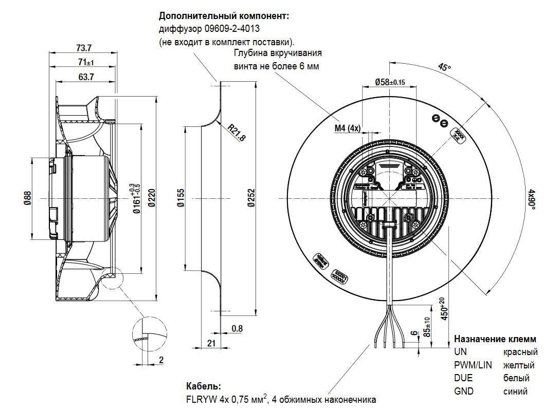 Центробежный автомобильный вентилятор R1G220-RD04-03