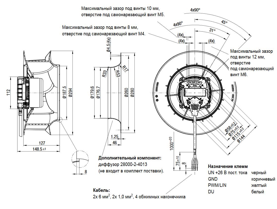 Центробежный автомобильный вентилятор R3G280-RU65-82