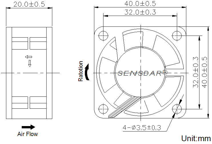 SD4020L5S, вентилятор 5В DC, 40х40х20 мм, подшипник скольжения, sensdar