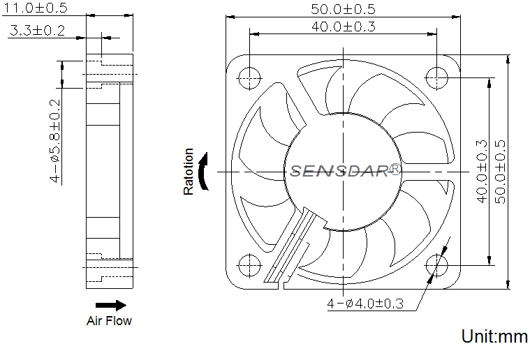 SD5010H2S, вентилятор 24В DC, 50х50х10 мм, подшипник скольжения, sensdar