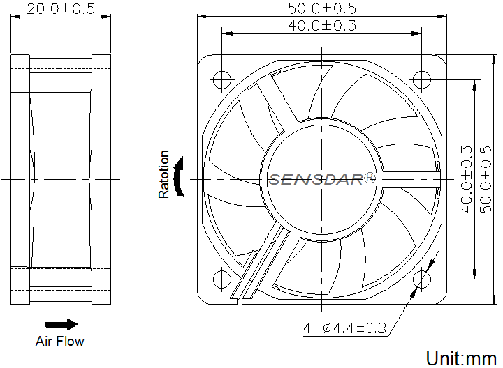 SD5020M1S, вентилятор 12В DC, 50х50х20 мм, подшипник скольжения, sensdar