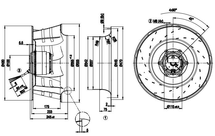 R6D500-AK03-01 ebmpapst чертеж