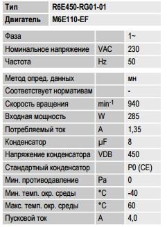R6E450-RG01-01 ebmpapst параметры